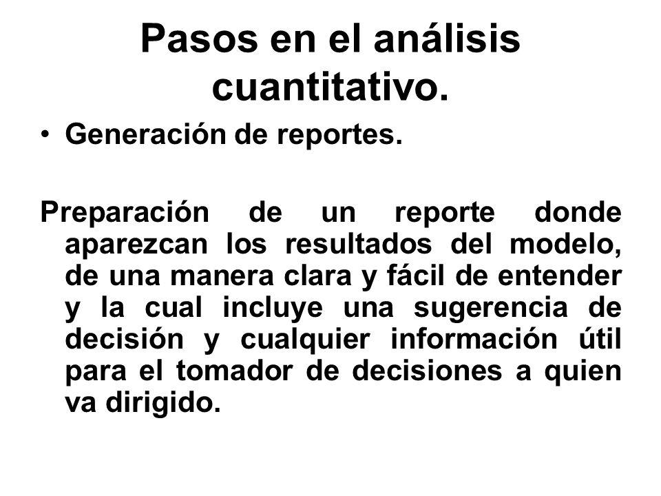 Pasos en el análisis cuantitativo. Generación de reportes. Preparación de un reporte donde aparezcan los resultados del modelo, de una manera clara y