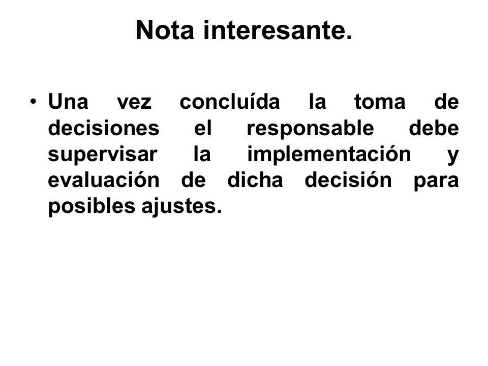 Nota interesante. Una vez concluída la toma de decisiones el responsable debe supervisar la implementación y evaluación de dicha decisión para posible