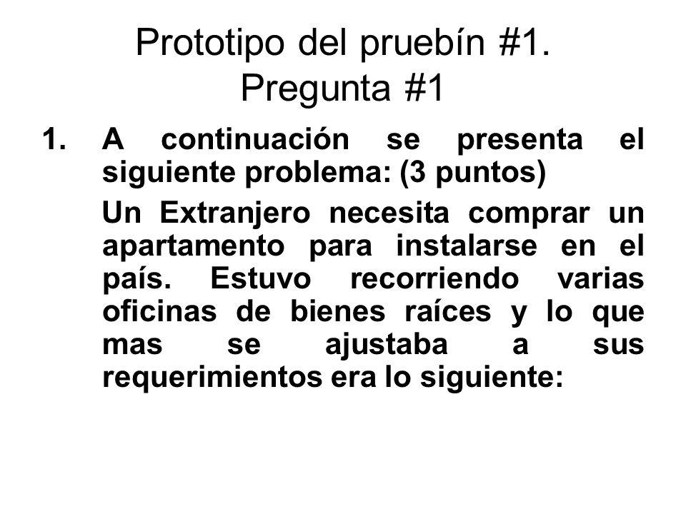 Prototipo del pruebín #1. Pregunta #1 1.A continuación se presenta el siguiente problema: (3 puntos) Un Extranjero necesita comprar un apartamento par