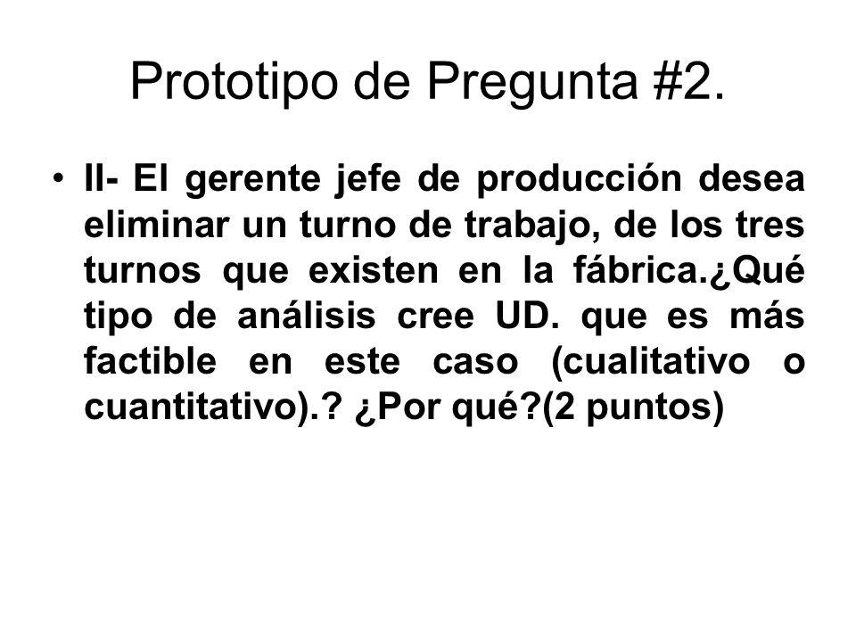 Prototipo de Pregunta #2. II- El gerente jefe de producción desea eliminar un turno de trabajo, de los tres turnos que existen en la fábrica.¿Qué tipo