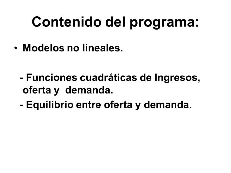 Contenido del programa: Modelos no lineales. - Funciones cuadráticas de Ingresos, oferta y demanda. - Equilibrio entre oferta y demanda.