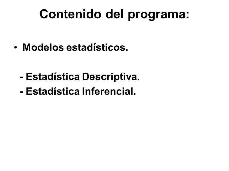 Contenido del programa: Modelos estadísticos. - Estadística Descriptiva. - Estadística Inferencial.