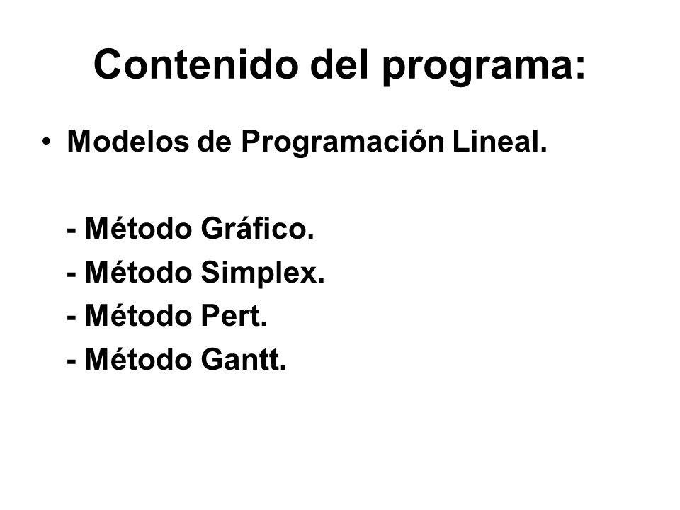 Contenido del programa: Modelos de Programación Lineal. - Método Gráfico. - Método Simplex. - Método Pert. - Método Gantt.