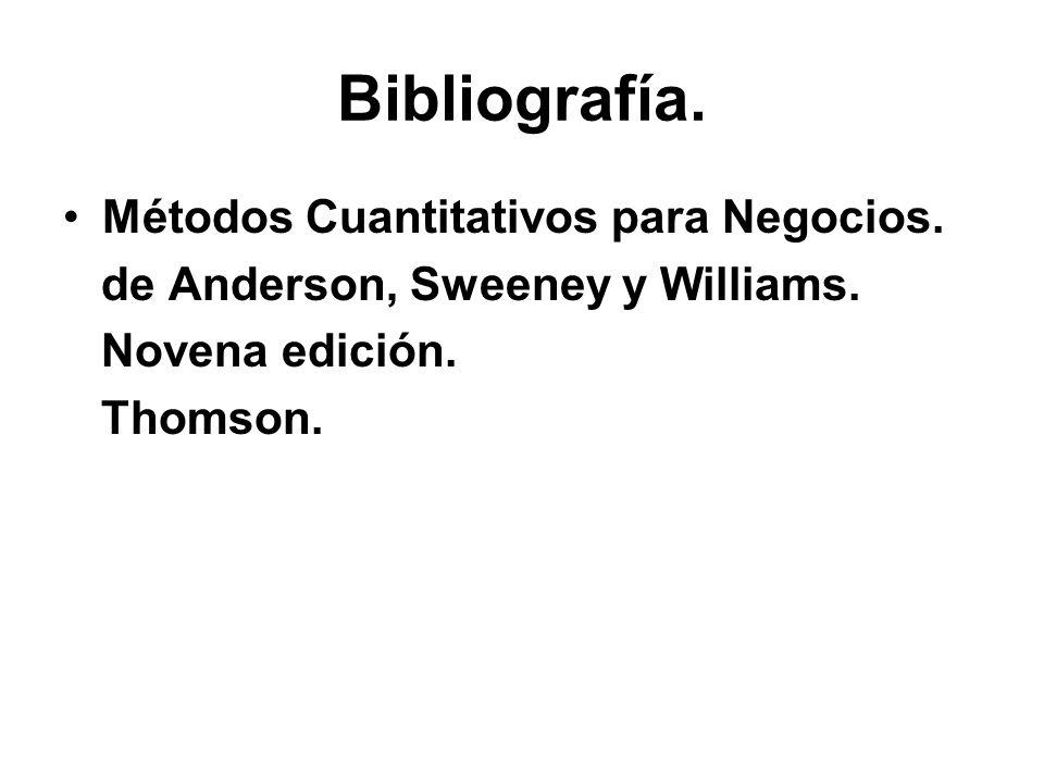 Bibliografía. Métodos Cuantitativos para Negocios. de Anderson, Sweeney y Williams. Novena edición. Thomson.