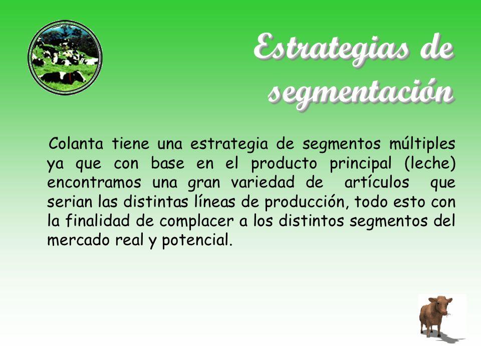 Estrategias de segmentación Colanta tiene una estrategia de segmentos múltiples ya que con base en el producto principal (leche) encontramos una gran