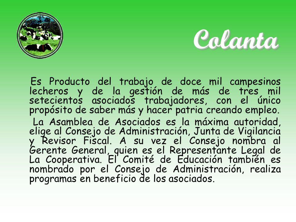 ColantaColanta Es Producto del trabajo de doce mil campesinos lecheros y de la gestión de más de tres mil setecientos asociados trabajadores, con el ú
