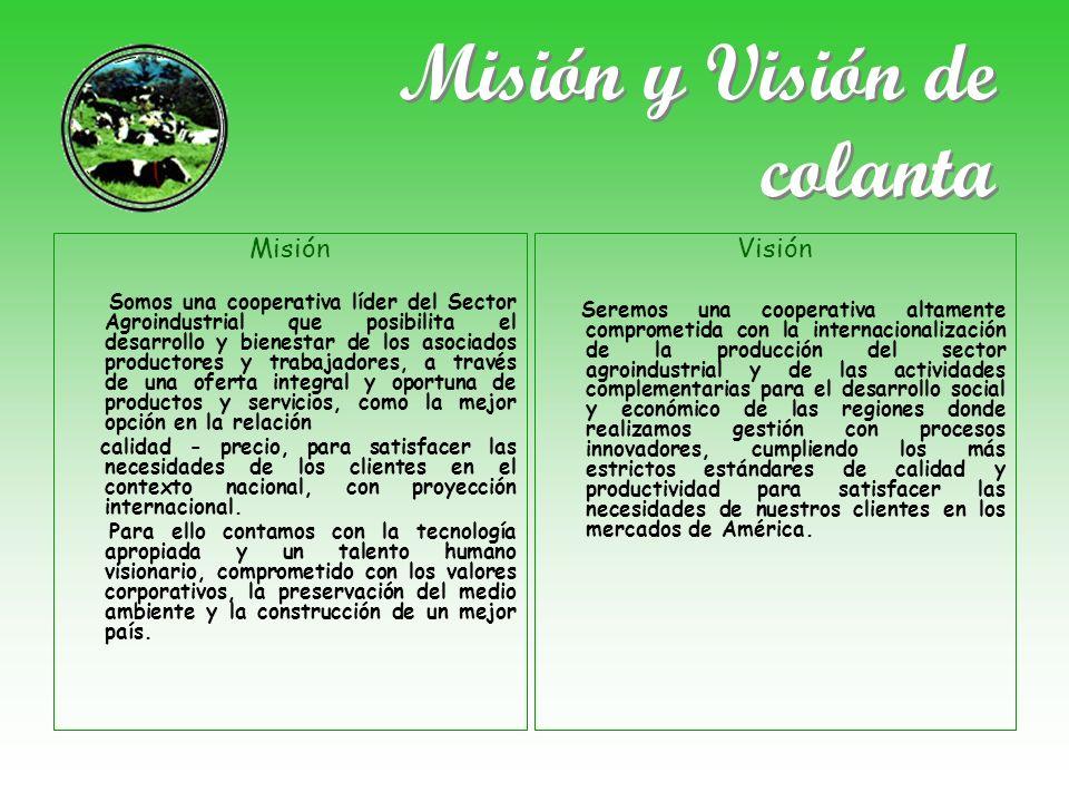 Misión y Visión de colanta Misión Somos una cooperativa líder del Sector Agroindustrial que posibilita el desarrollo y bienestar de los asociados prod