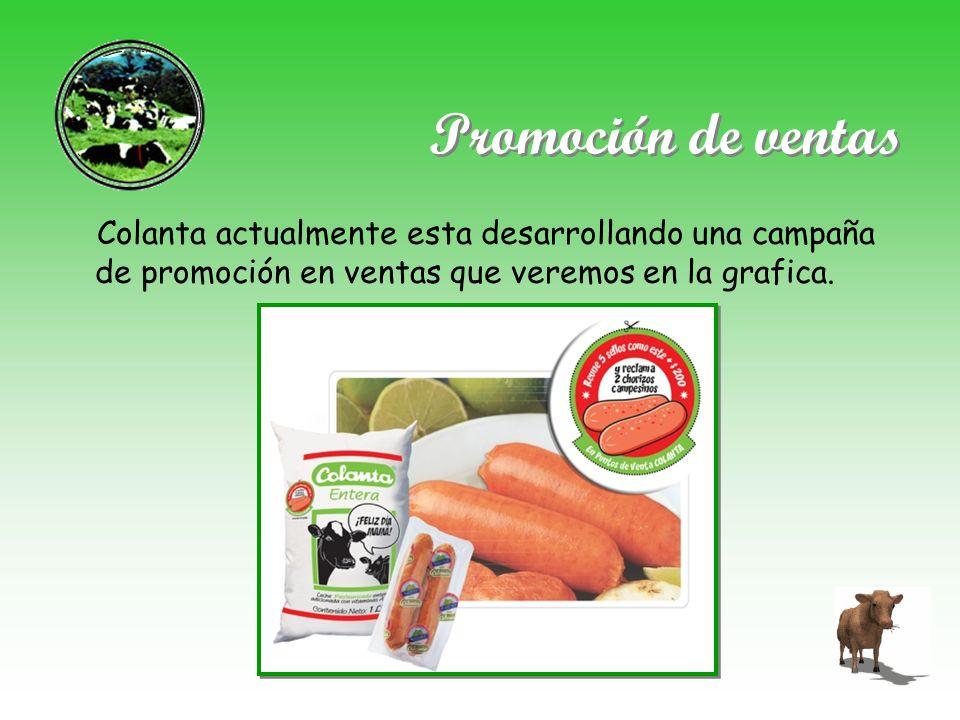 Promoción de ventas Colanta actualmente esta desarrollando una campaña de promoción en ventas que veremos en la grafica.