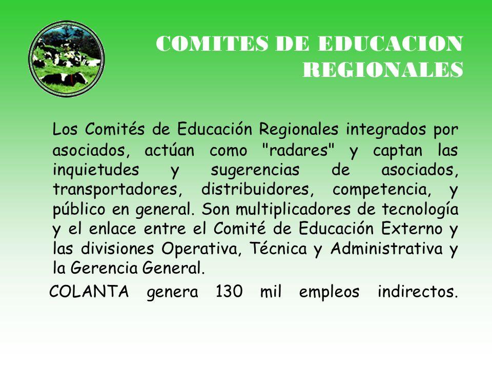 COMITES DE EDUCACION REGIONALES Los Comités de Educación Regionales integrados por asociados, actúan como