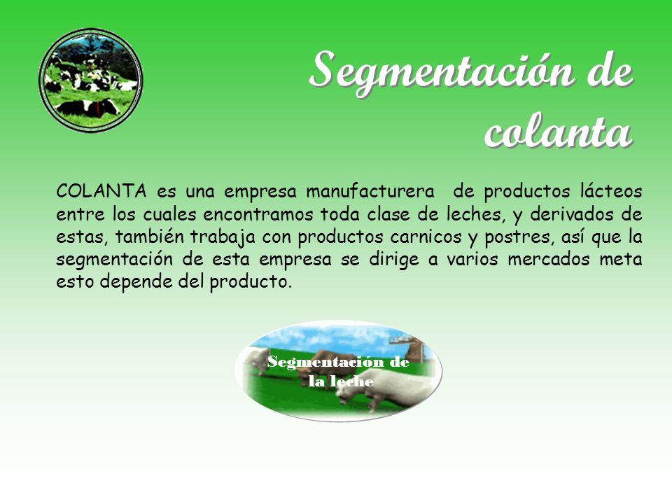 Segmentación de colanta COLANTA es una empresa manufacturera de productos lácteos entre los cuales encontramos toda clase de leches, y derivados de es