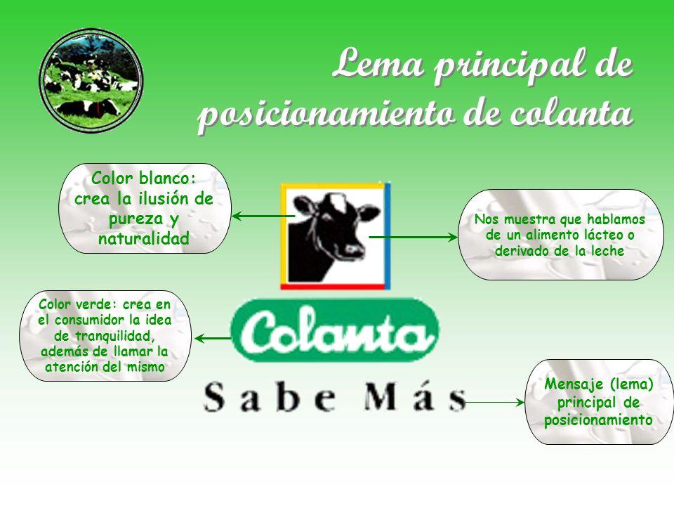 Diferenciación Colanta se diferencia de su competencia por la calidad y cuidado que ha tenido con cada uno de sus productos durante 40 años de funcionamiento que lleva la empresa ofreciéndole a los colombianos comestibles de excelentes características alimenticias