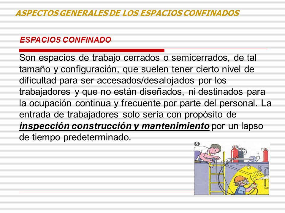 ESPACIOS CONFINADO ASPECTOS GENERALES DE LOS ESPACIOS CONFINADOS Son espacios de trabajo cerrados o semicerrados, de tal tamaño y configuración, que s