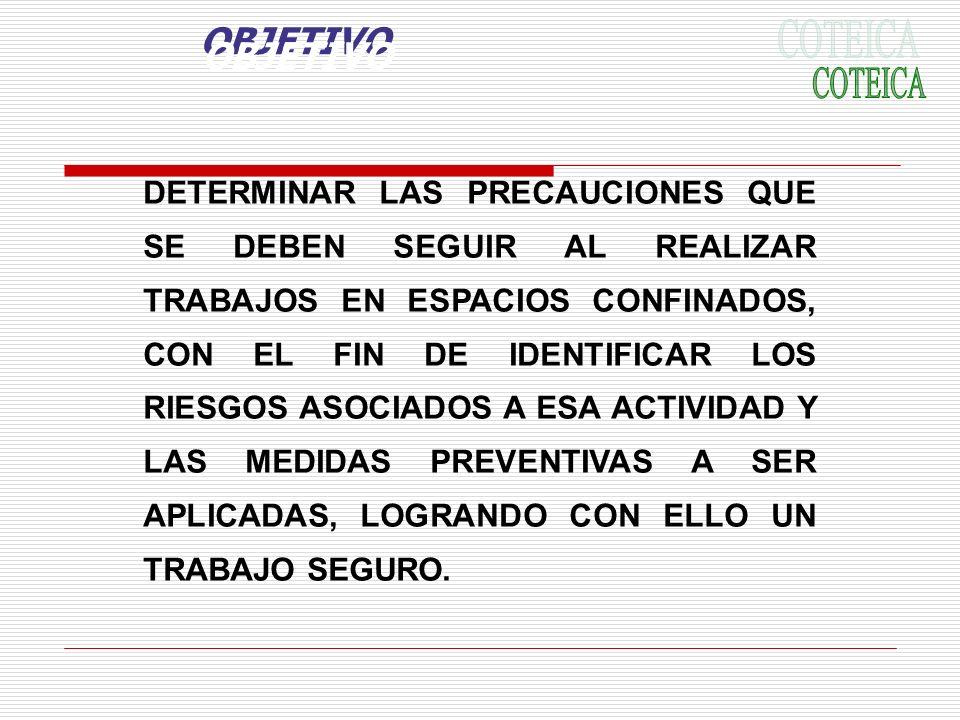 OBJETIVO DETERMINAR LAS PRECAUCIONES QUE SE DEBEN SEGUIR AL REALIZAR TRABAJOS EN ESPACIOS CONFINADOS, CON EL FIN DE IDENTIFICAR LOS RIESGOS ASOCIADOS