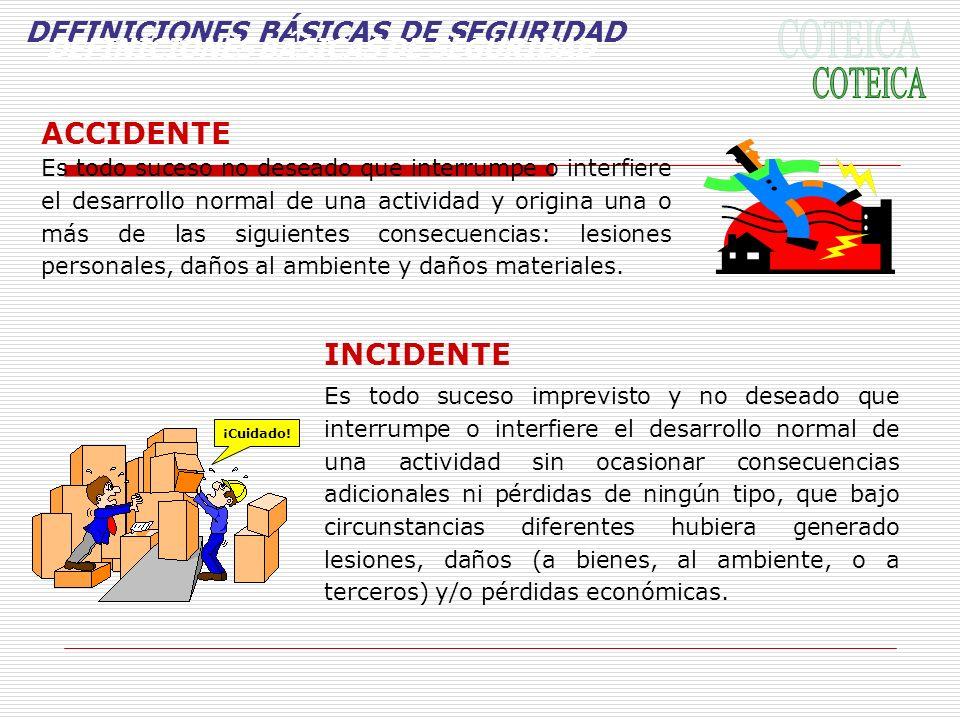 DEFINICIONES BÁSICAS DE SEGURIDAD ACCIDENTE Es todo suceso no deseado que interrumpe o interfiere el desarrollo normal de una actividad y origina una