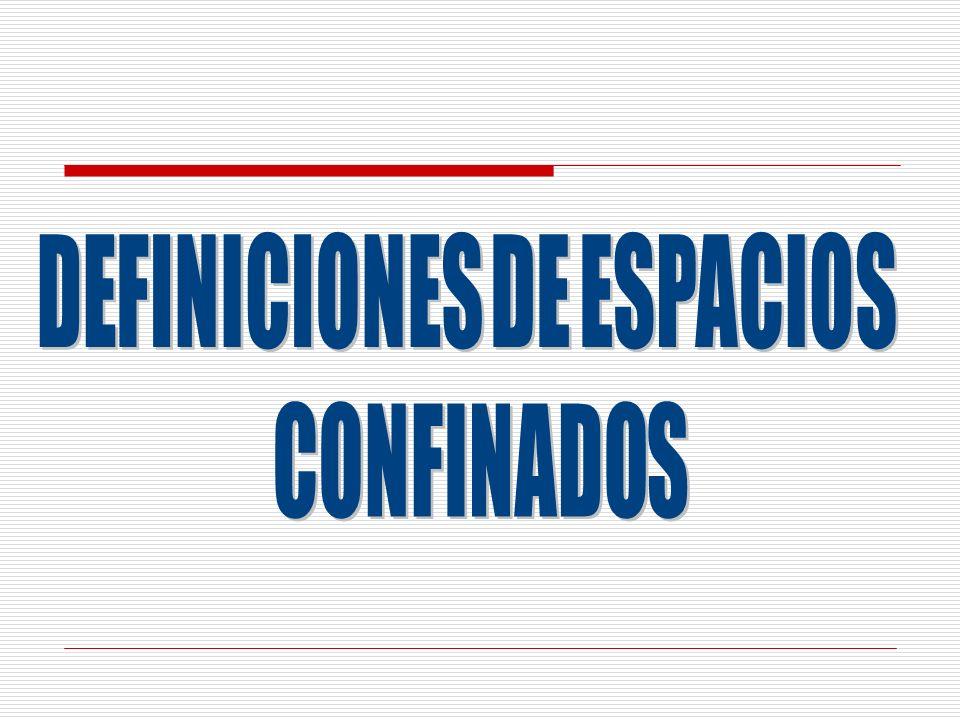 TIPOS DE PELIGROS: ASPECTOS GENERALES DE LOS ESPACIOS CONFINADOS Peligro Descripción Ergonómicos: Entrada y salida restringida o limitada.