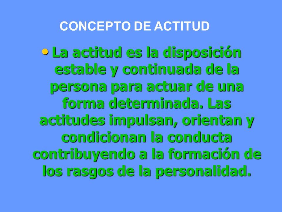 La actitud es la disposición estable y continuada de la persona para actuar de una forma determinada. Las actitudes impulsan, orientan y condicionan l