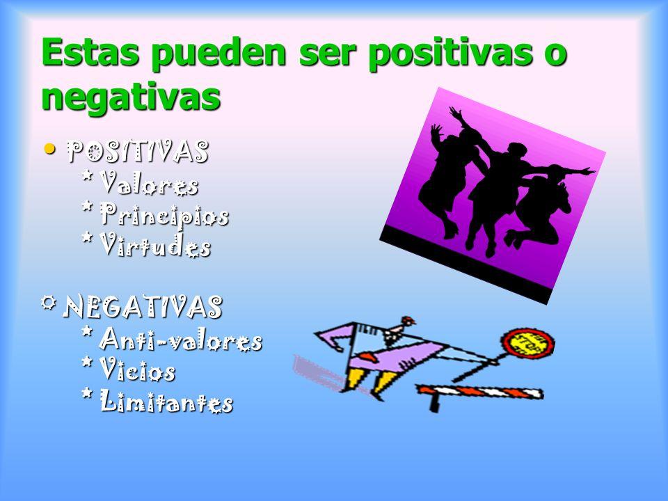 Estas pueden ser positivas o negativas POSITIVAS POSITIVAS * Valores * Valores * Principios * Principios * Virtudes * Virtudes ° NEGATIVAS * Anti-valo