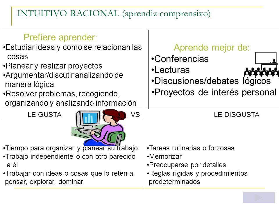 SENSORIAL-EMOTIVO (aprendiz interpersonal) Prefiere aprender : Cosas que afectan directamente la vida de las personas Recibir atención y motiv. person
