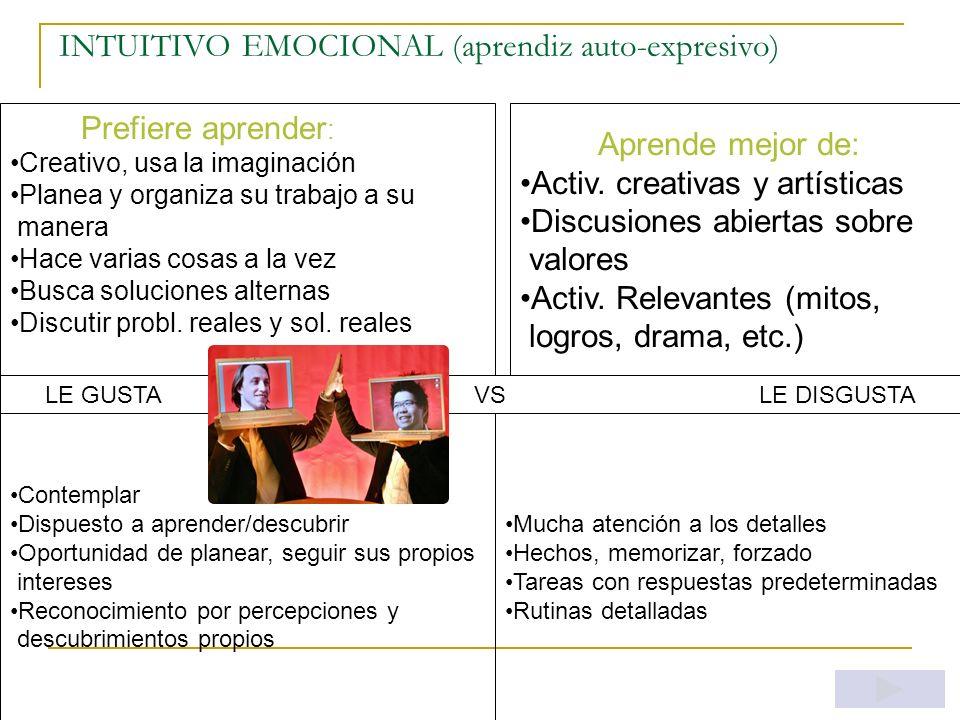 INTUITIVO RACIONAL (aprendiz comprensivo) Prefiere aprender : Estudiar ideas y como se relacionan las cosas Planear y realizar proyectos Argumentar/di