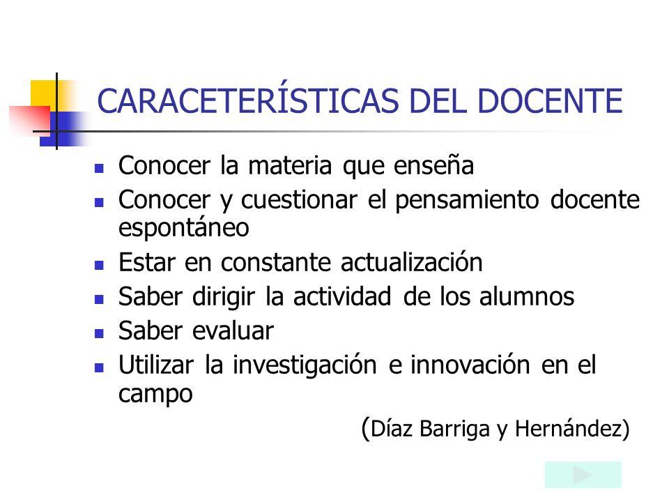 EL DOCENTE ES: Organizador y mediador en el encuentro del alumno con el conocimiento ( Díaz Barriga). Responsable de la formación de sus alumnos Luce