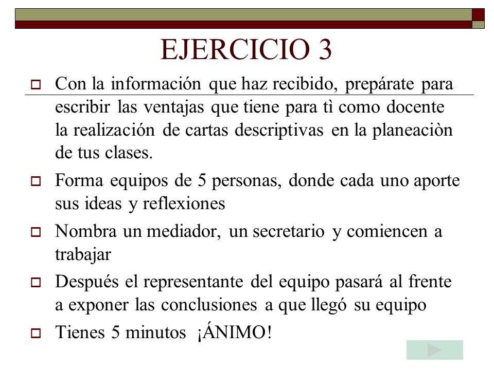 EJERCICIO 2 Elige un tema especifico que ya hayas trabajado con un grupo de alguna asignatura que estés impartiendo y describe la sesión completa con