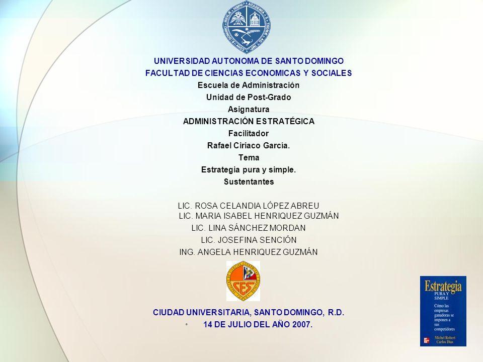 UNIVERSIDAD AUTONOMA DE SANTO DOMINGO FACULTAD DE CIENCIAS ECONOMICAS Y SOCIALES Escuela de Administración Unidad de Post-Grado Asignatura ADMINISTRAC