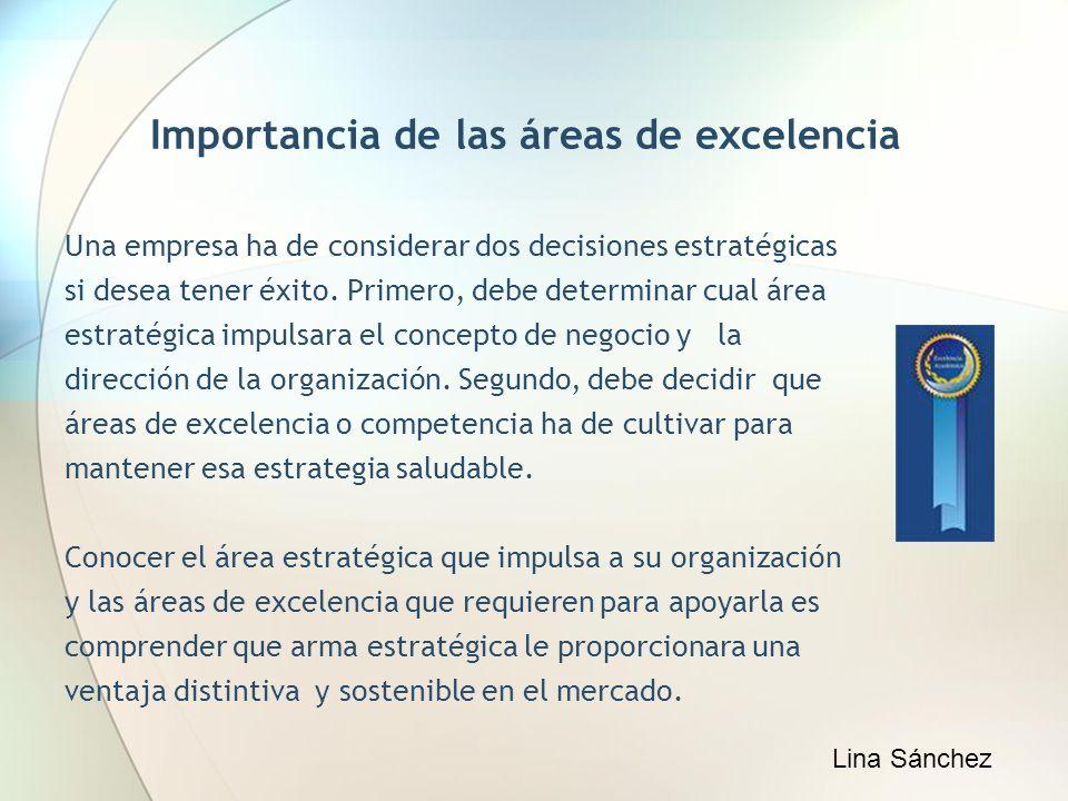 Importancia de las áreas de excelencia Una empresa ha de considerar dos decisiones estratégicas si desea tener éxito. Primero, debe determinar cual ár