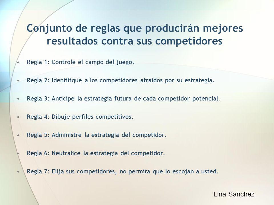 Conjunto de reglas que producirán mejores resultados contra sus competidores Regla 1: Controle el campo del juego. Regla 2: Identifique a los competid
