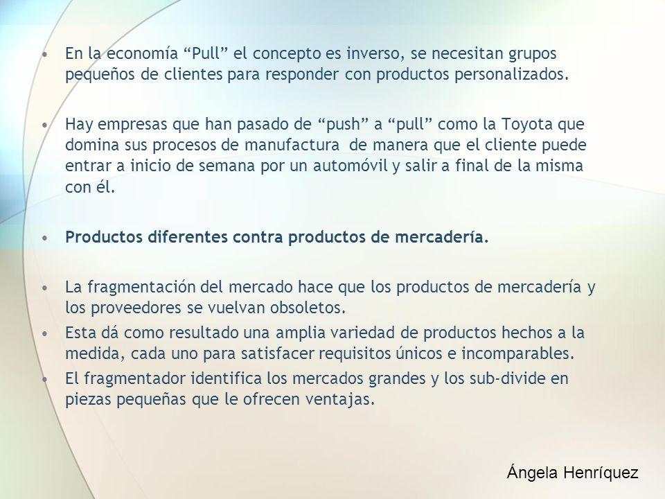 En la economía Pull el concepto es inverso, se necesitan grupos pequeños de clientes para responder con productos personalizados. Hay empresas que han