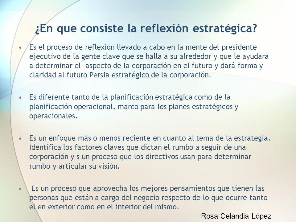 ¿En que consiste la reflexión estratégica? Es el proceso de reflexión llevado a cabo en la mente del presidente ejecutivo de la gente clave que se hal