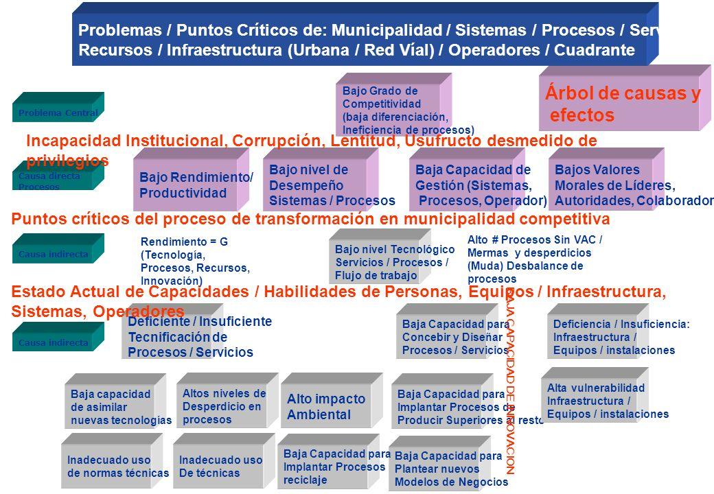 Bajo Grado de Competitividad (baja diferenciación servicios, Ineficiencia de procesos) Bajo nivel de desempeño Bajo rendimiento / productividad Proble
