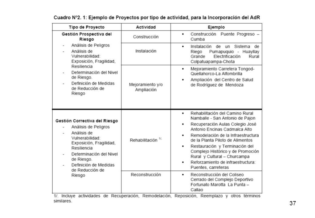36 La sección II proporcionará instrumentos metodológicos para incorporar el AdR en los PIP a través de los siguientes pasos: 1.Analizar los peligros