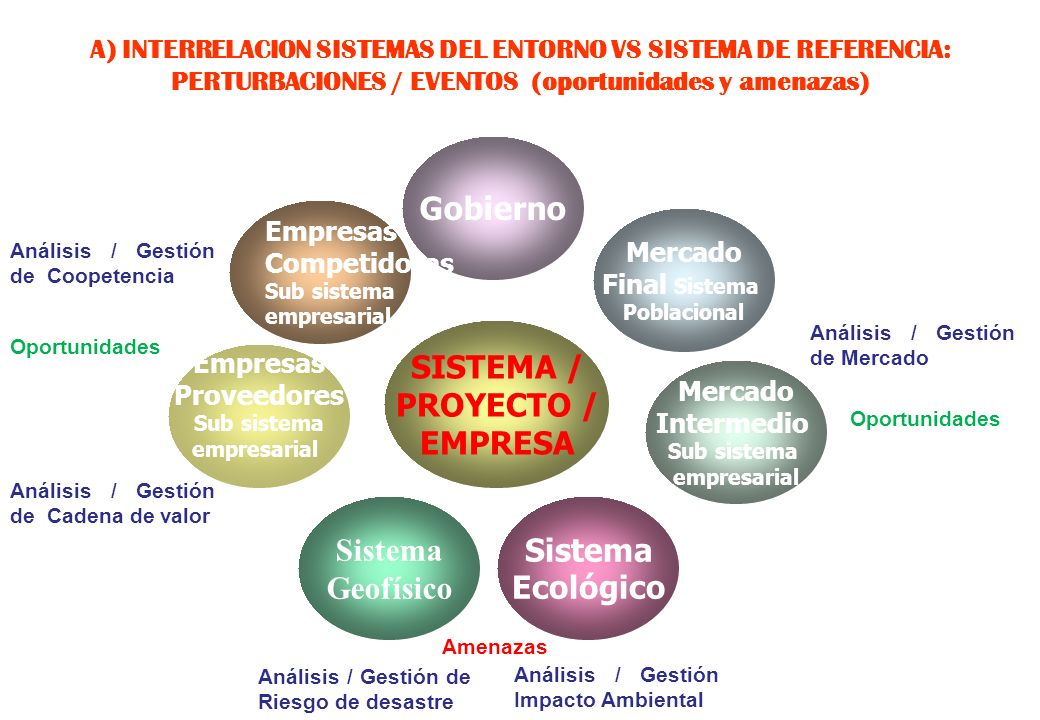 4 A) Entender la interrelación de las variables / conceptos de los sistemas del entorno con las de nuestro sistema de referencia: proyecto / empresa /