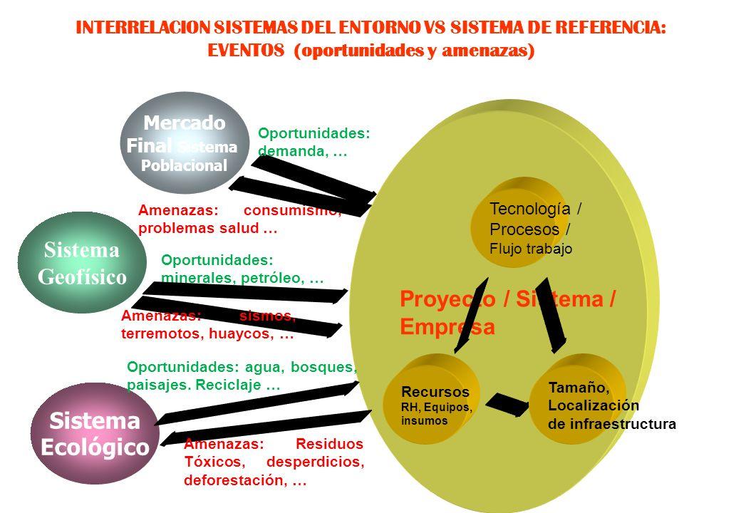 A) INTERRELACION SISTEMAS DEL ENTORNO VS SISTEMA DE REFERENCIA: PERTURBACIONES / EVENTOS (oportunidades y amenazas) SISTEMA / PROYECTO / EMPRESA Gobie