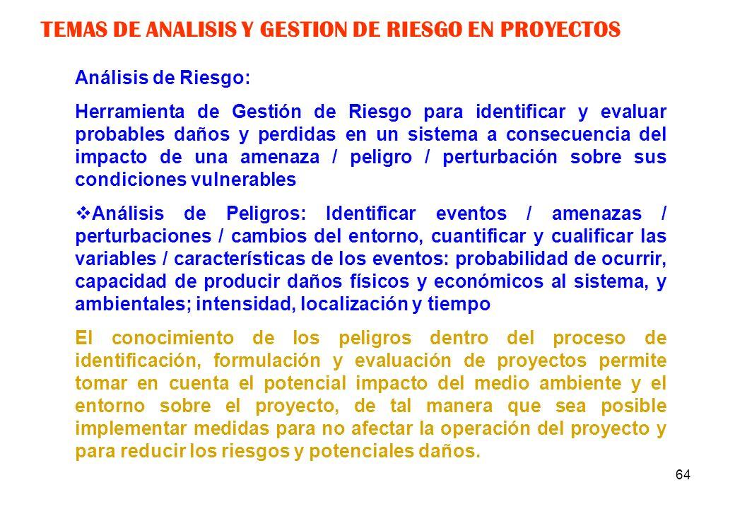 63 TEMAS DE ESTUDIO TRADICIONAL EN PREINVERSION En conclusión, no se realiza el análisis para la prevención y mitigación del impacto de amenazas en el