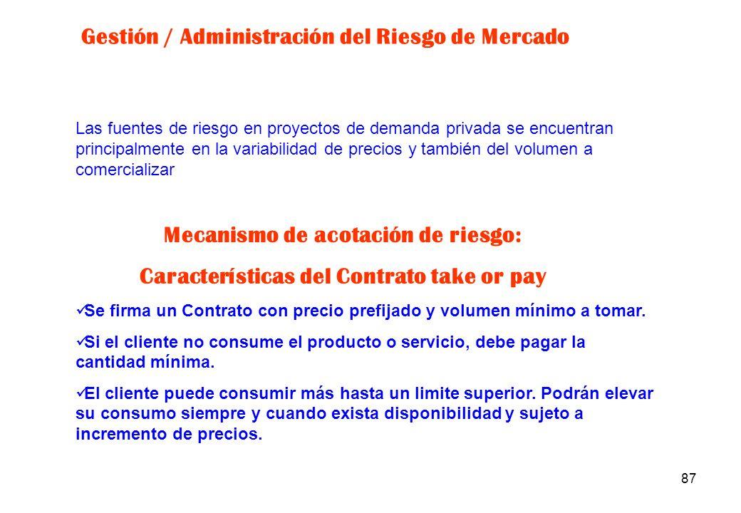 86 EVENTOS DE RIESGOSOLUCIONES Modificaciones en: La normativa aplicable (legal, fiscal, medio ambiental, etc.) La política (expropiaciones, repatriac