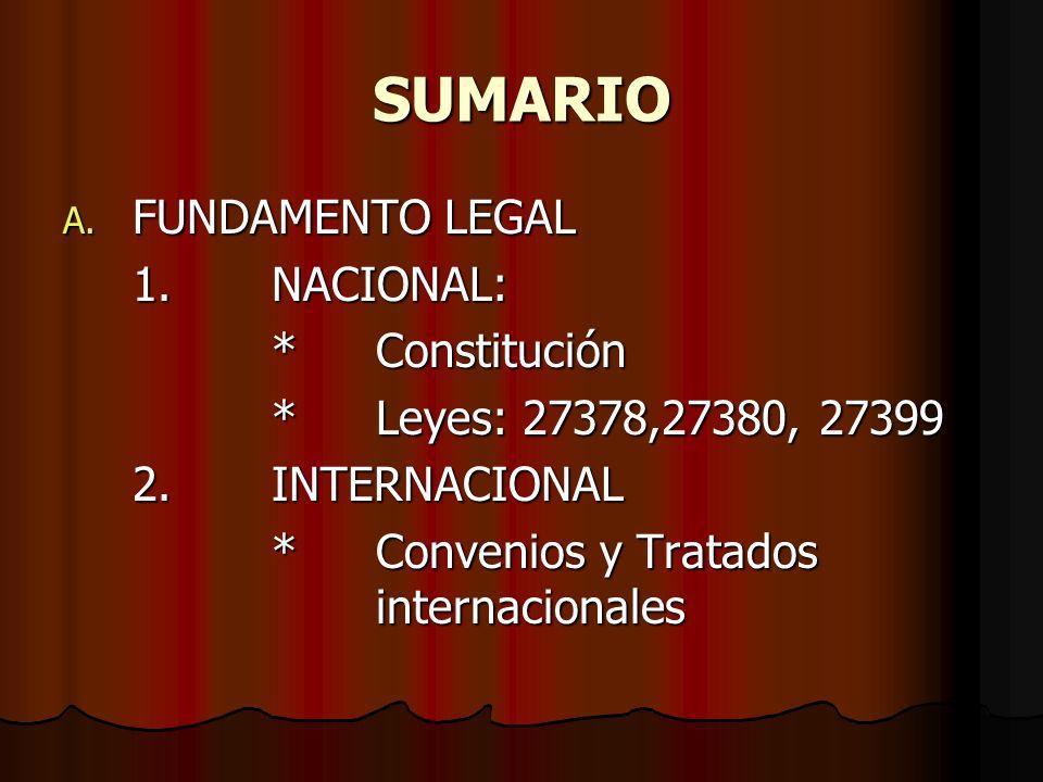 SUMARIO A. FUNDAMENTO LEGAL 1.NACIONAL: *Constitución *Leyes: 27378,27380, 27399 2.INTERNACIONAL *Convenios y Tratados internacionales