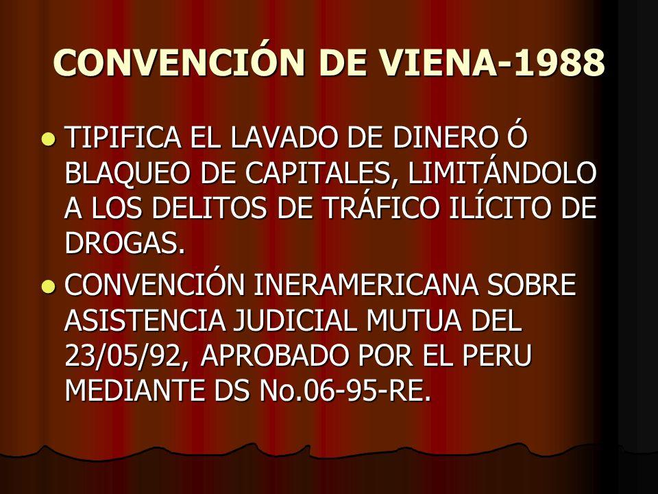 CONVENCIÓN DE VIENA-1988 TIPIFICA EL LAVADO DE DINERO Ó BLAQUEO DE CAPITALES, LIMITÁNDOLO A LOS DELITOS DE TRÁFICO ILÍCITO DE DROGAS. TIPIFICA EL LAVA