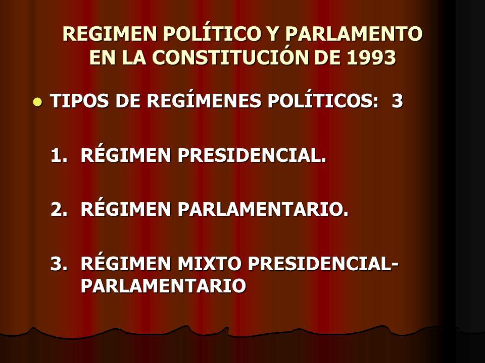 REGIMEN POLÍTICO Y PARLAMENTO EN LA CONSTITUCIÓN DE 1993 TIPOS DE REGÍMENES POLÍTICOS: 3 TIPOS DE REGÍMENES POLÍTICOS: 3 1.RÉGIMEN PRESIDENCIAL. 2.RÉG