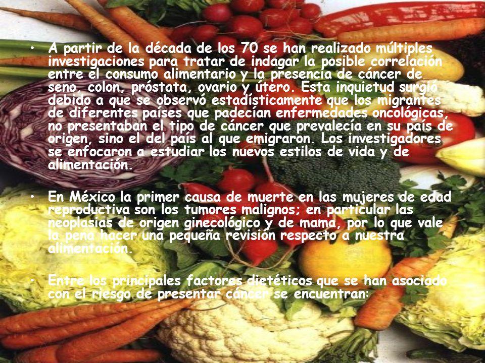 Consumo de grasas La ingestión excesiva de grasas está ampliamente vinculada con la presencia de cáncer.
