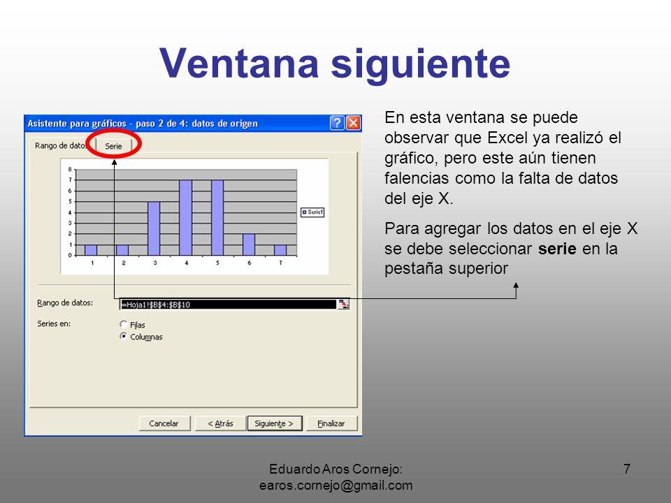 Eduardo Aros Cornejo: earos.cornejo@gmail.com 8 Pestaña Serie En está ventana se puede ver una serie de datos y en la parte inferior una casilla con el texto Rótulos del eje de categorías (X).