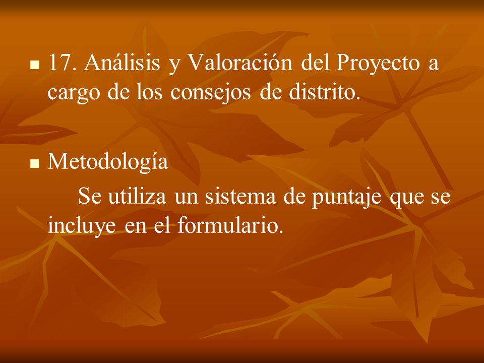 17. Análisis y Valoración del Proyecto a cargo de los consejos de distrito.