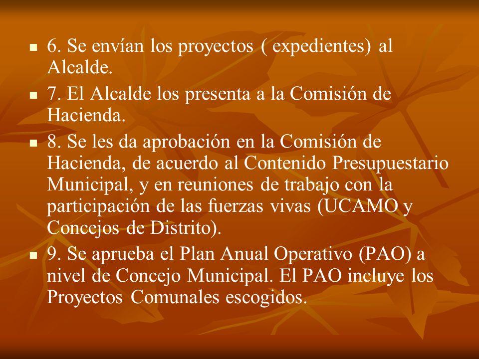 6. Se envían los proyectos ( expedientes) al Alcalde.