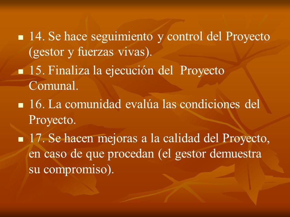 14. Se hace seguimiento y control del Proyecto (gestor y fuerzas vivas).