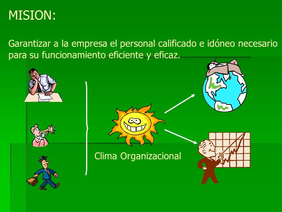 MISION: Garantizar a la empresa el personal calificado e idóneo necesario para su funcionamiento eficiente y eficaz.