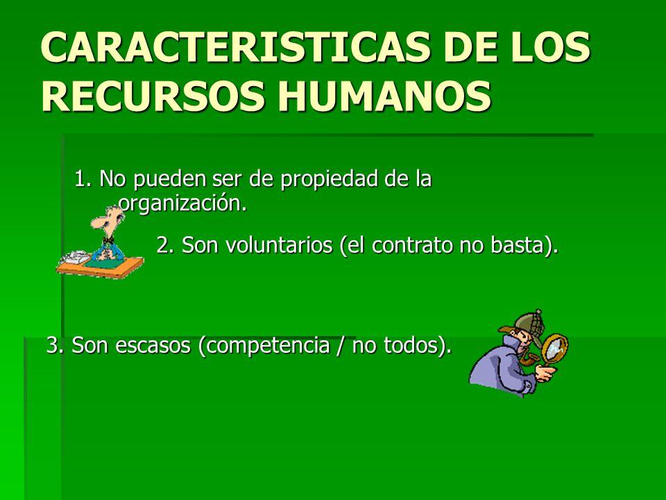 CARACTERISTICAS DE LOS RECURSOS HUMANOS 1.No pueden ser de propiedad de la organización.