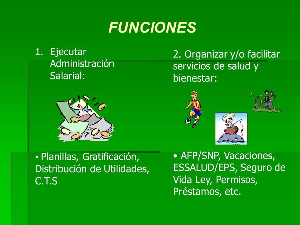 FUNCIONES 1.Ejecutar Administración Salarial: Planillas, Gratificación, Distribución de Utilidades, C.T.S 2.
