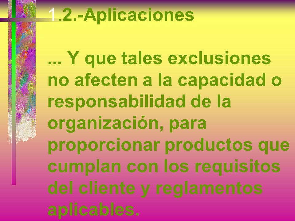 1.2.-Aplicaciones...Pero cuando se realicen exclusiones, no se podrá alegar conformidad con esta Norma Internacional, a menos que dichas exclusiones q