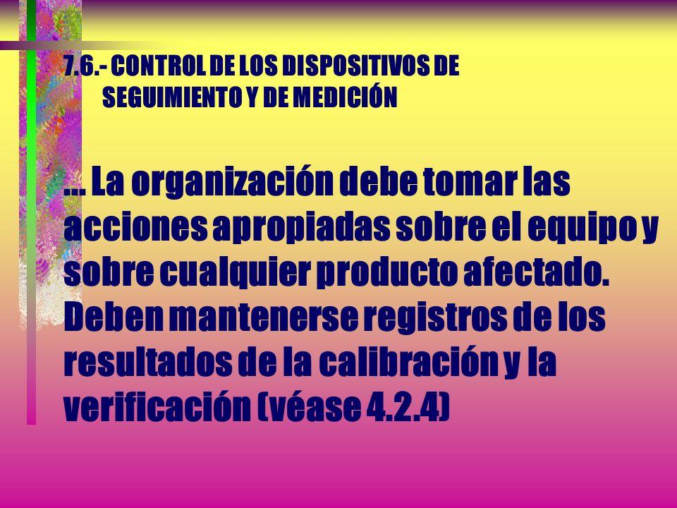 7.6.- CONTROL DE LOS DISPOSITIVOS DE SEGUIMIENTO Y DE MEDICIÓN Además, la organización debe evaluar y registrar la validez de los resultados de las me