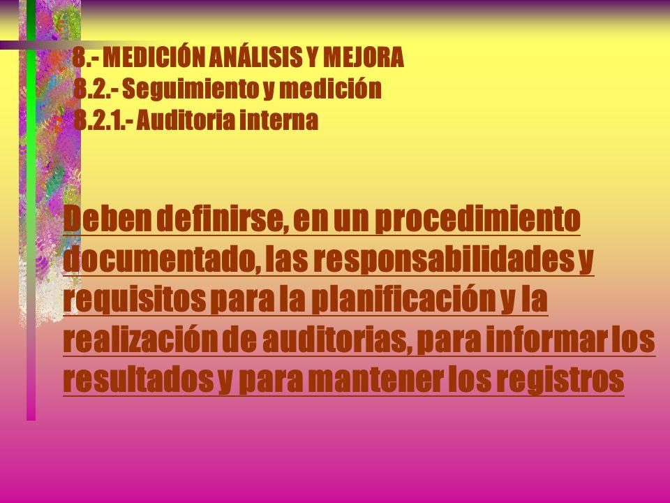 8.- MEDICIÓN ANÁLISIS Y MEJORA 8.2.- Seguimiento y medición 8.2.1.- Auditoria interna b) Se ha implementado y se mantiene de manera eficaz Se debe pla